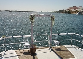 Wedding arch on a boat
