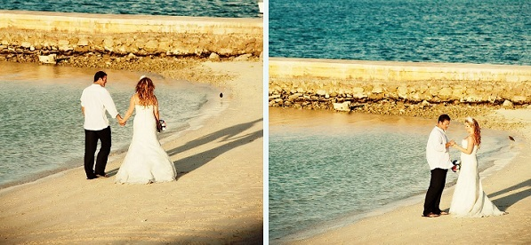 Bride and Groom walk on the beach