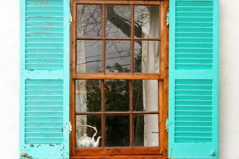 Turquoise Windowsill with Bermuda Cedar Frame