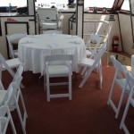 Dinner Setup of a Wedding on a Yacht