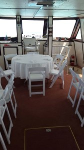 Dinner Setup of a Wedding on a Yacht