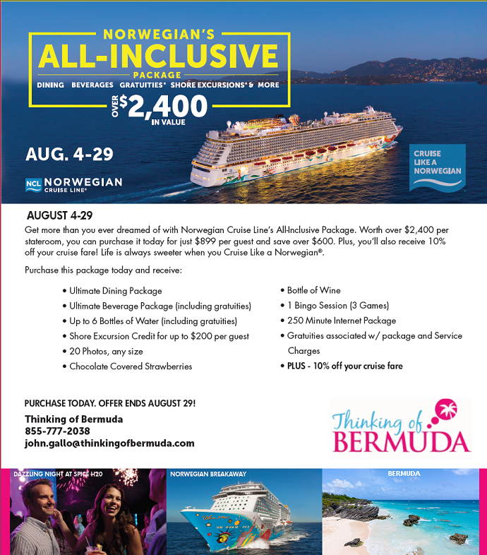 Norwegian All Inclusive Package - Book by August 29, 2014