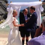 Kristin & Marc Saying Their Vows on the Beach