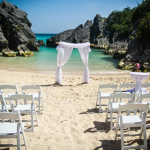 Jobson Cove Beach Wedding with White Sash Alter