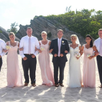 Group Photo of the Wedding Party on the Beach