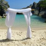 White Sash Wedding Alter on the Beach